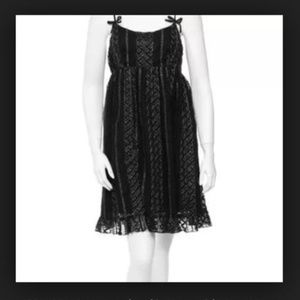 Ann Sui Black Lace Dress With Gold Detailing